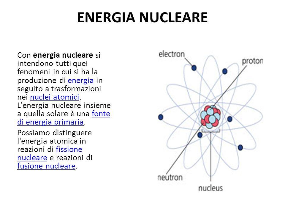 ENERGIA NUCLEARE Con energia nucleare si intendono tutti quei fenomeni in cui si ha la produzione di energia in seguito a trasformazioni nei nuclei at