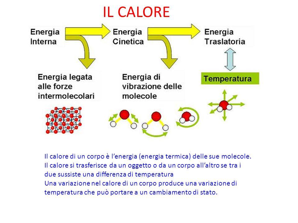 IL CALORE Il calore di un corpo è l'energia (energia termica) delle sue molecole. Il calore si trasferisce da un oggetto o da un corpo all'altro se tr