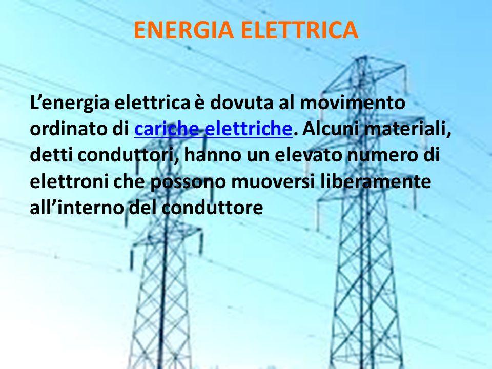 ENERGIA ELETTRICA L'energia elettrica è dovuta al movimento ordinato di cariche elettriche. Alcuni materiali, detti conduttori, hanno un elevato numer