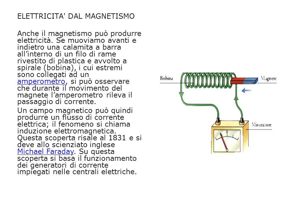 ELETTRICITA' DAL MAGNETISMO Anche il magnetismo può produrre elettricità. Se muoviamo avanti e indietro una calamita a barra all'interno di un filo di