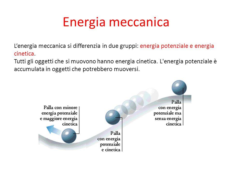 Energia meccanica L'energia meccanica si differenzia in due gruppi: energia potenziale e energia cinetica. Tutti gli oggetti che si muovono hanno ener