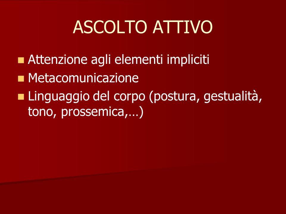 ASCOLTO ATTIVO Attenzione agli elementi impliciti Metacomunicazione Linguaggio del corpo (postura, gestualità, tono, prossemica,…)