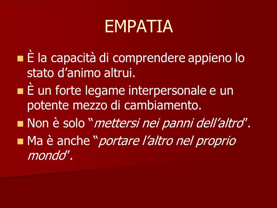 """EMPATIA È la capacità di comprendere appieno lo stato d'animo altrui. È un forte legame interpersonale e un potente mezzo di cambiamento. Non è solo """""""