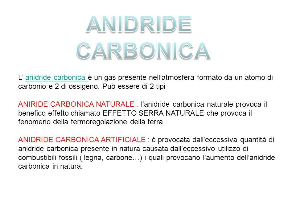 L' anidride carbonica è un gas presente nell'atmosfera formato da un atomo di carbonio e 2 di ossigeno. Può essere di 2 tipianidride carbonica ANIRIDE