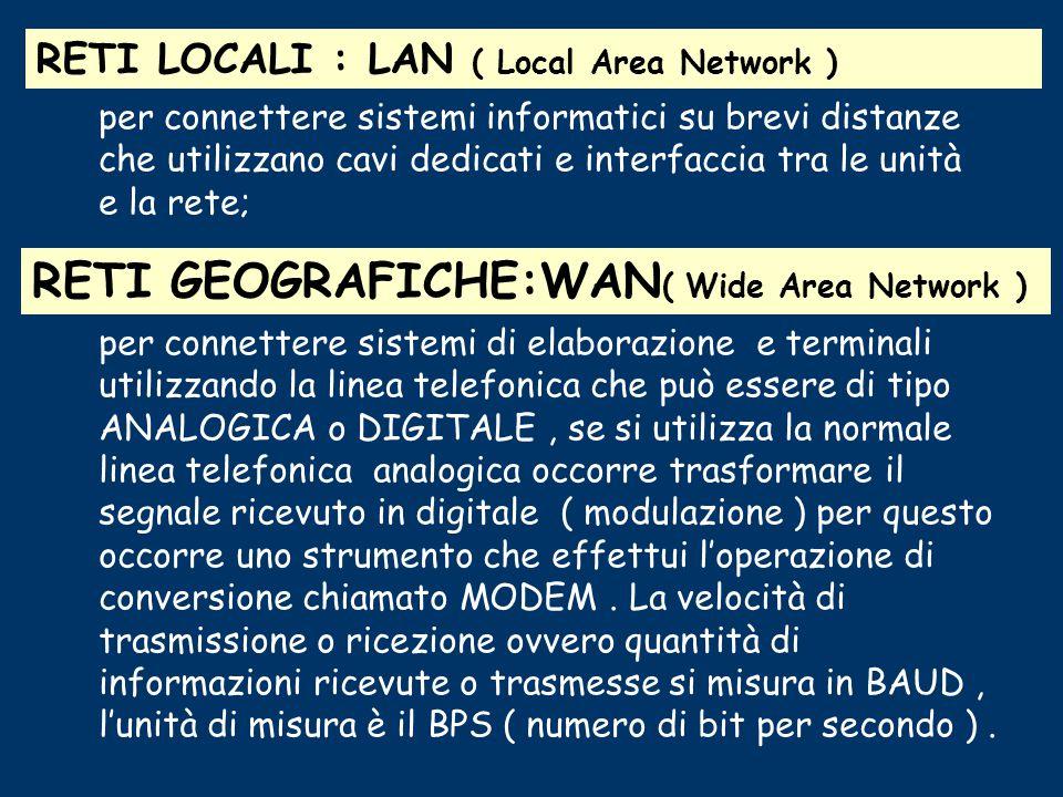 Le reti informatiche In un sistema moderno di elaborazione dei dati è indispensabile che più utenti mediante terminali, possano contemporaneamente acc