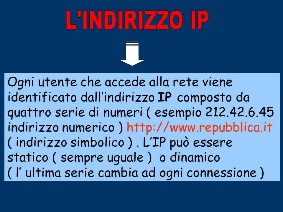 IL PROTOCOLO TC/IP Affinché tra un computer e l'altro possa avvenire uno scambio di dati via internet è necessario un protocollo comune, ovvero regole