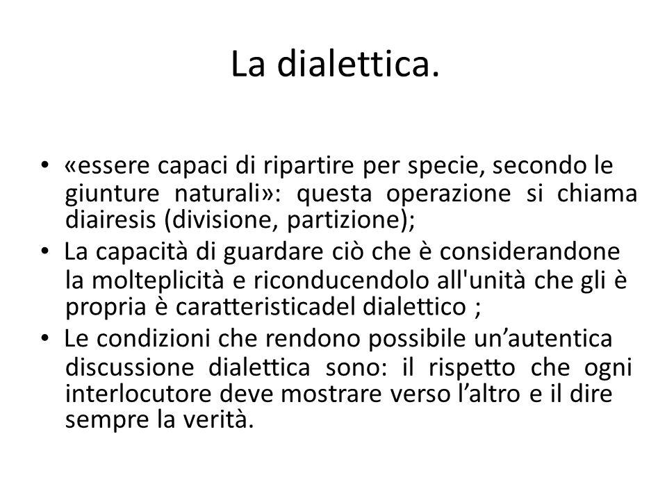 La dialettica. «essere capaci di ripartire per specie, secondo le giunture naturali»: questa operazione si chiama diairesis (divisione, partizione); L