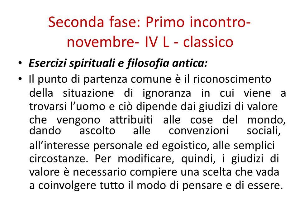 Seconda fase: Primo incontro- novembre- IV L - classico Esercizi spirituali e filosofia antica: Il punto di partenza comune è il riconoscimento della