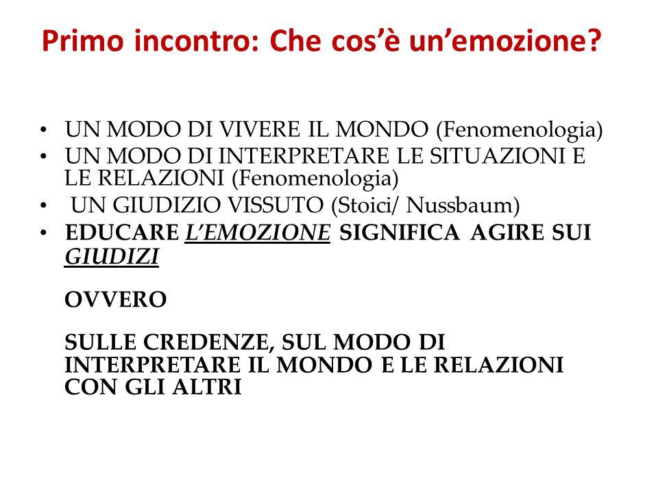 Primo incontro: Che cos'è un'emozione? UN MODO DI VIVERE IL MONDO (Fenomenologia) UN MODO DI INTERPRETARE LE SITUAZIONI E LE RELAZIONI (Fenomenologia)