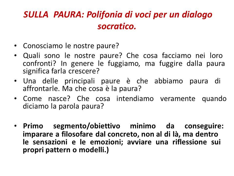 SULLA PAURA: Polifonia di voci per un dialogo socratico.