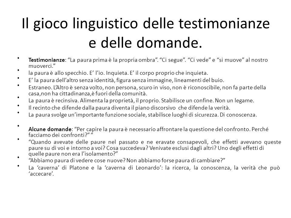 Il gioco linguistico delle testimonianze e delle domande.