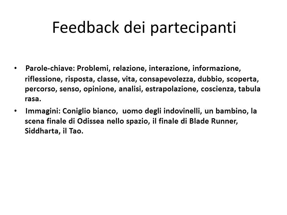 Feedback dei partecipanti Parole-chiave: Problemi, relazione, interazione, informazione, riflessione, risposta, classe, vita, consapevolezza, dubbio,