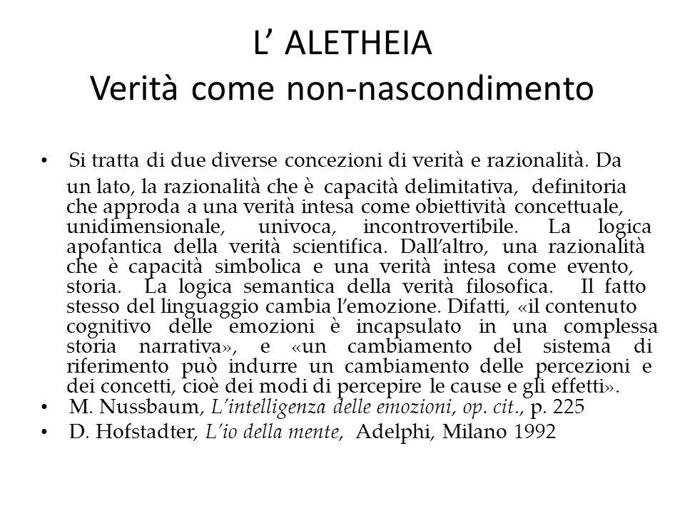 L' ALETHEIA Verità come non-nascondimento Si tratta di due diverse concezioni di verità e razionalità.