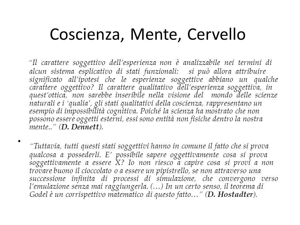 """Coscienza, Mente, Cervello """"Il carattere soggettivo dell'esperienza non è analizzabile nei termini di alcun sistema esplicativo di stati funzionali: s"""