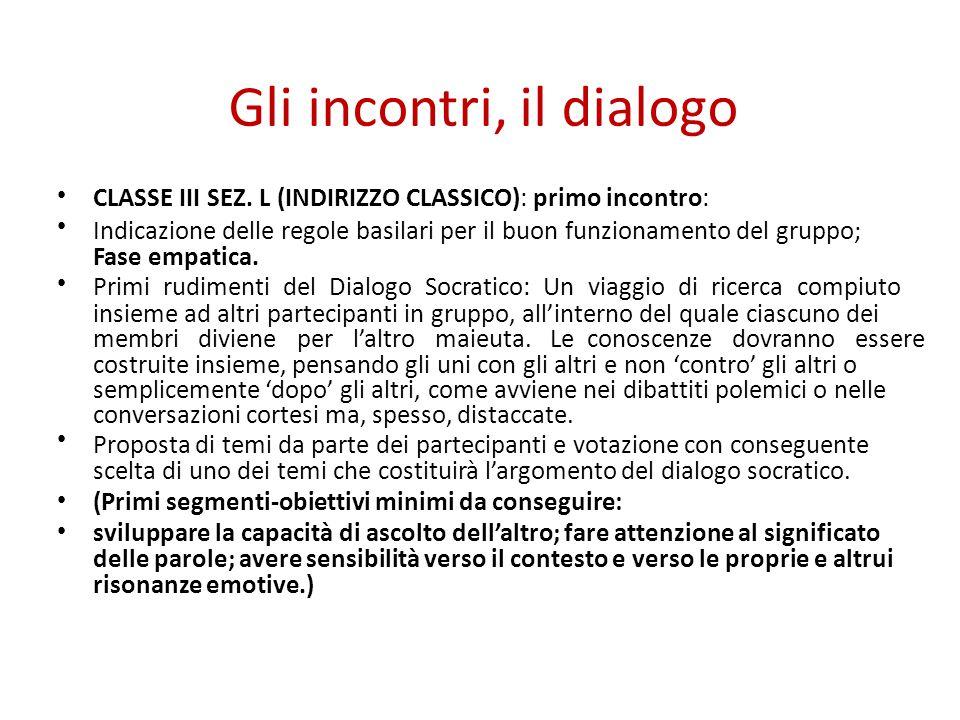 Gli incontri, il dialogo CLASSE III SEZ. L (INDIRIZZO CLASSICO): primo incontro: Indicazione delle regole basilari per il buon funzionamento del grupp
