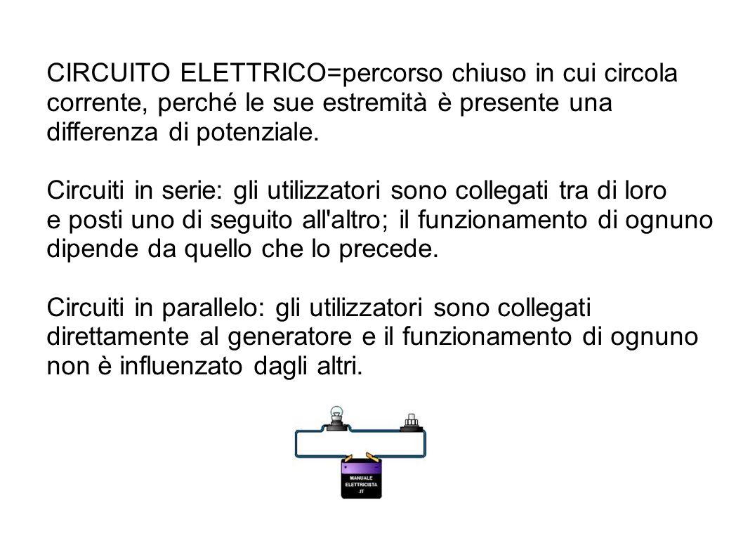 CIRCUITO ELETTRICO=percorso chiuso in cui circola corrente, perché le sue estremità è presente una differenza di potenziale. Circuiti in serie: gli ut