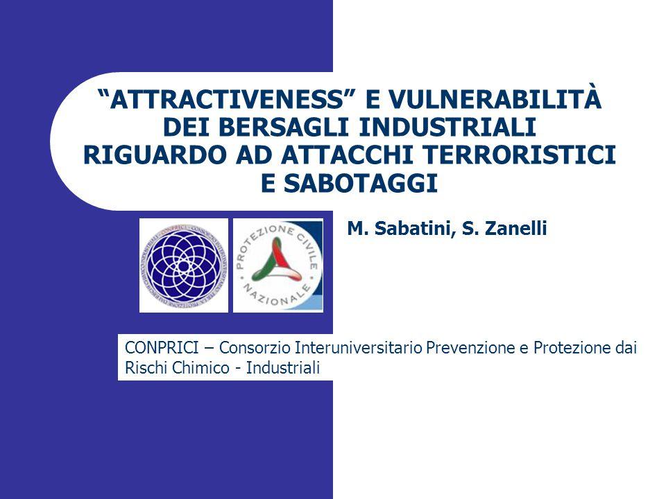 ATTRACTIVENESS E VULNERABILITÀ DEI BERSAGLI INDUSTRIALI RIGUARDO AD ATTACCHI TERRORISTICI E SABOTAGGI M.