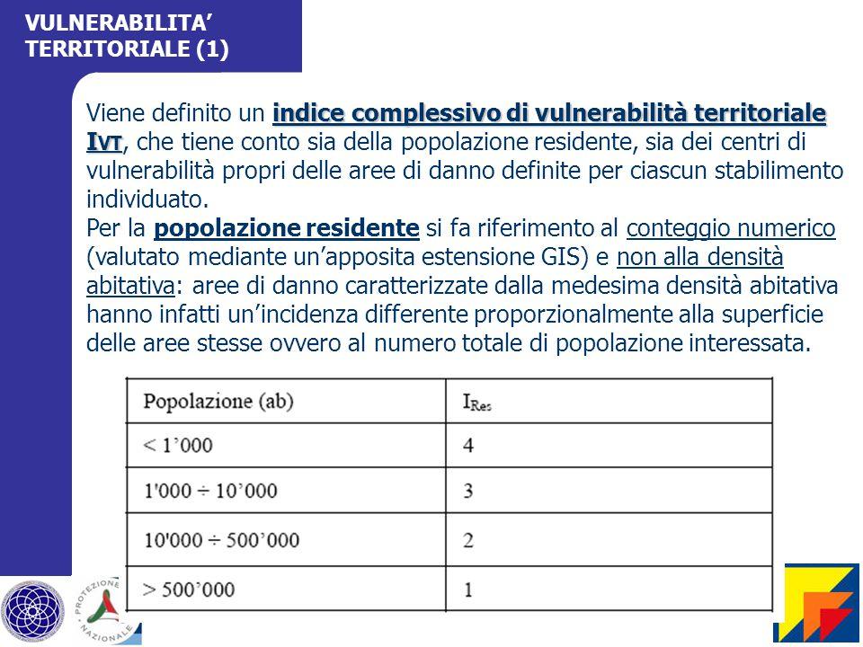 indice complessivo di vulnerabilità territoriale I VT Viene definito un indice complessivo di vulnerabilità territoriale I VT, che tiene conto sia della popolazione residente, sia dei centri di vulnerabilità propri delle aree di danno definite per ciascun stabilimento individuato.