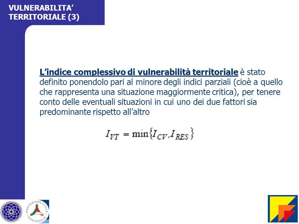 L'indice complessivo di vulnerabilità territoriale L'indice complessivo di vulnerabilità territoriale è stato definito ponendolo pari al minore degli indici parziali (cioè a quello che rappresenta una situazione maggiormente critica), per tenere conto delle eventuali situazioni in cui uno dei due fattori sia predominante rispetto all'altro VULNERABILITA' TERRITORIALE (3)