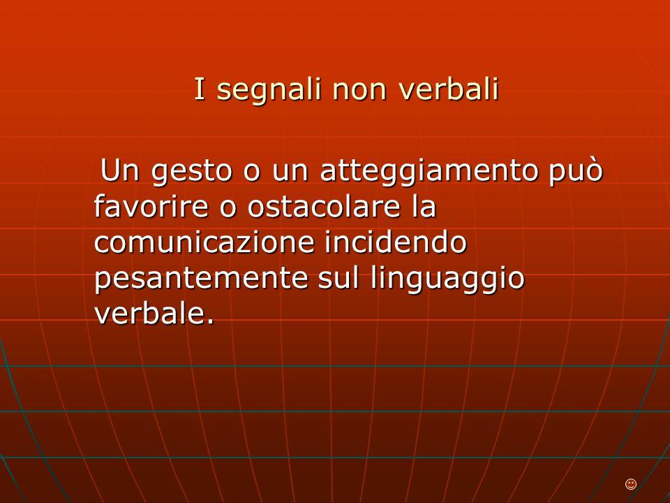 I segnali non verbali Un gesto o un atteggiamento può favorire o ostacolare la comunicazione incidendo pesantemente sul linguaggio verbale.