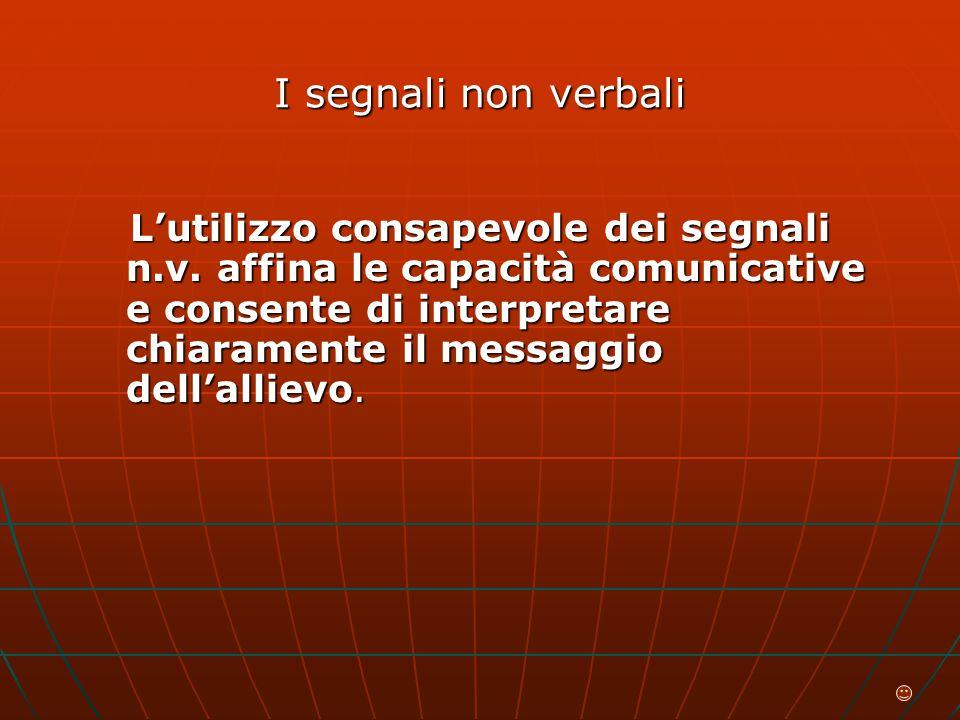 I segnali non verbali L'utilizzo consapevole dei segnali n.v.