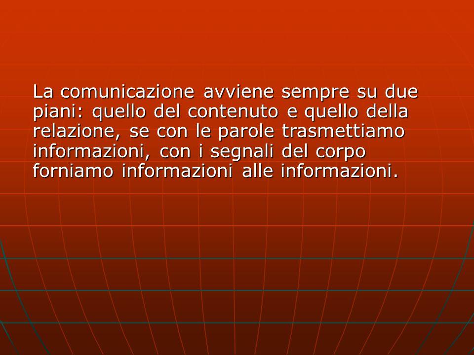 La comunicazione avviene sempre su due piani: quello del contenuto e quello della relazione, se con le parole trasmettiamo informazioni, con i segnali del corpo forniamo informazioni alle informazioni.