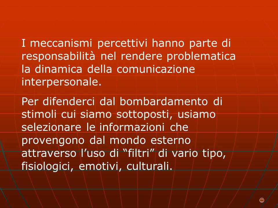 I meccanismi percettivi hanno parte di responsabilità nel rendere problematica la dinamica della comunicazione interpersonale.