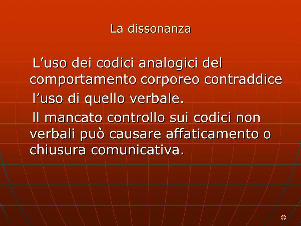 La dissonanza L'uso dei codici analogici del comportamento corporeo contraddice L'uso dei codici analogici del comportamento corporeo contraddice l'uso di quello verbale.