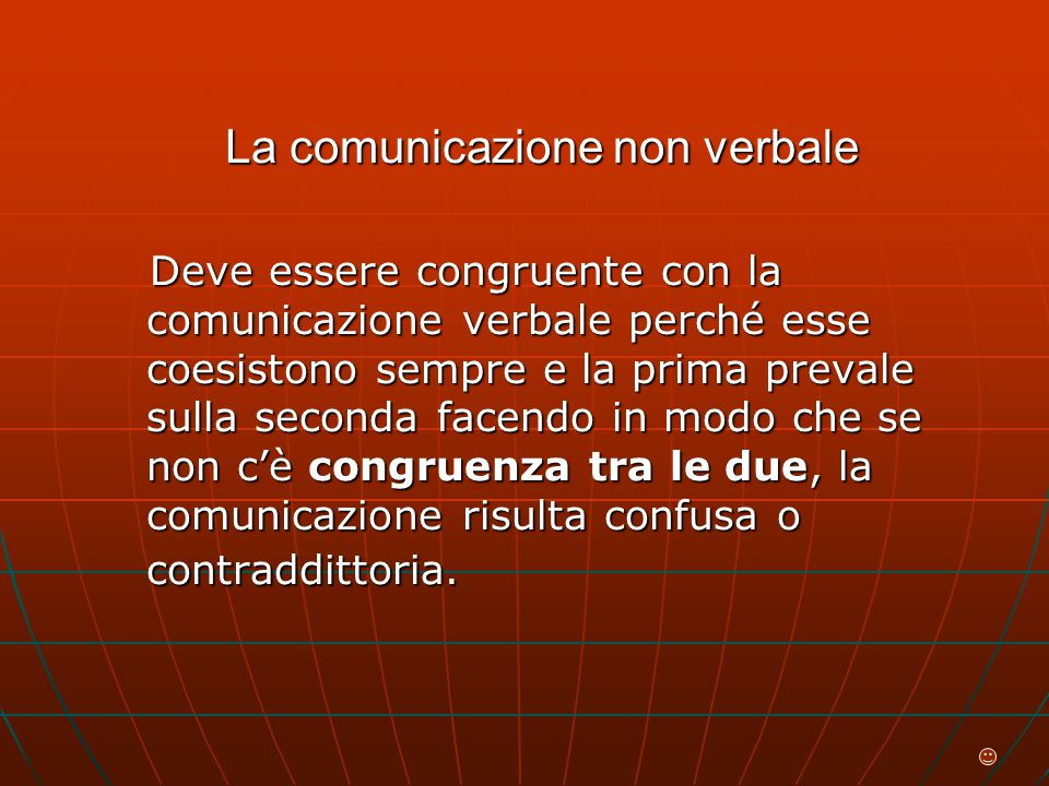 La comunicazione non verbale Deve essere congruente con la comunicazione verbale perché esse coesistono sempre e la prima prevale sulla seconda facendo in modo che se non c'è congruenza tra le due, la comunicazione risulta confusa o contraddittoria.
