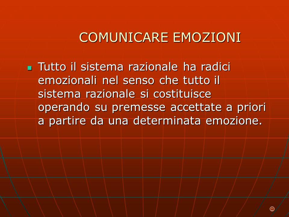 COMUNICARE EMOZIONI Tutto il sistema razionale ha radici emozionali nel senso che tutto il sistema razionale si costituisce operando su premesse accettate a priori a partire da una determinata emozione.