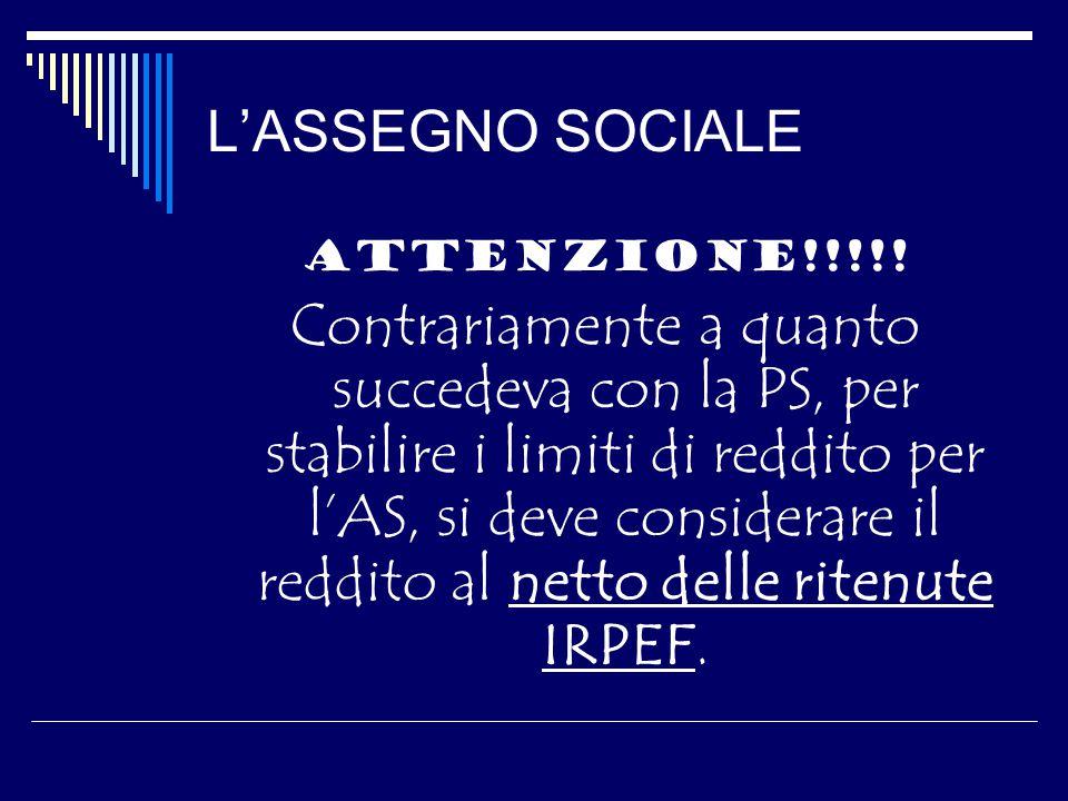 L'ASSEGNO SOCIALE ATTENZIONE!!!!.