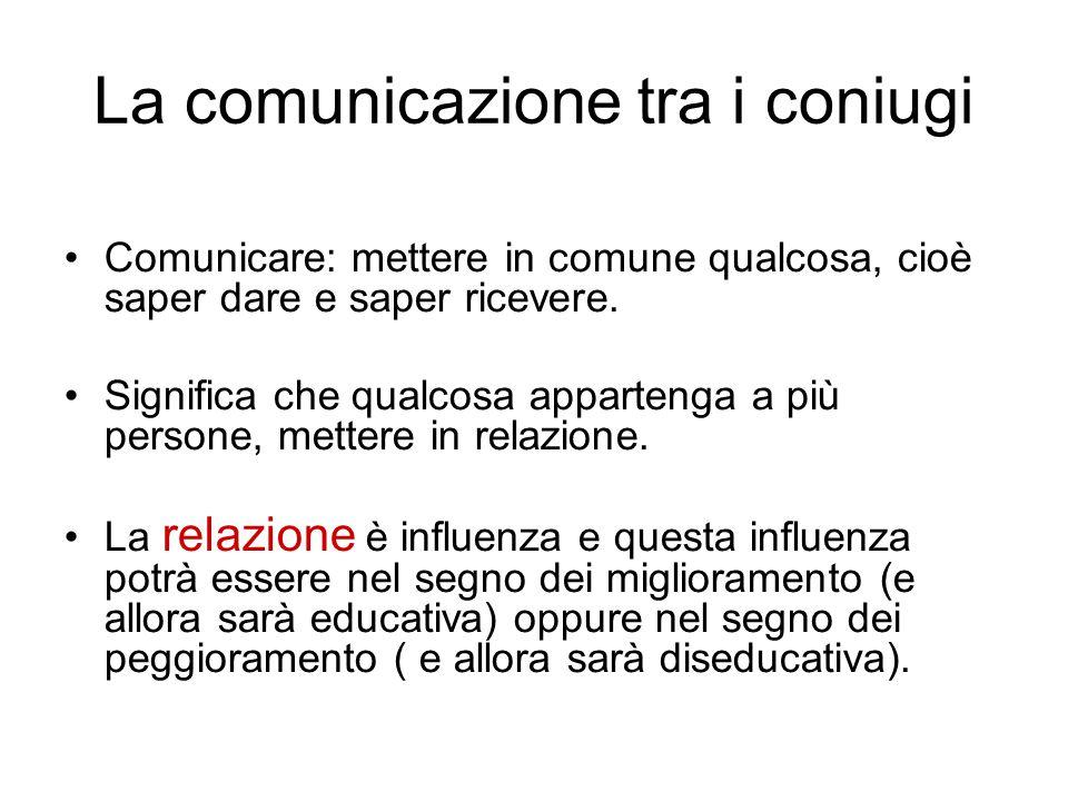 La comunicazione tra i coniugi Comunicare: mettere in comune qualcosa, cioè saper dare e saper ricevere. Significa che qualcosa appartenga a più perso