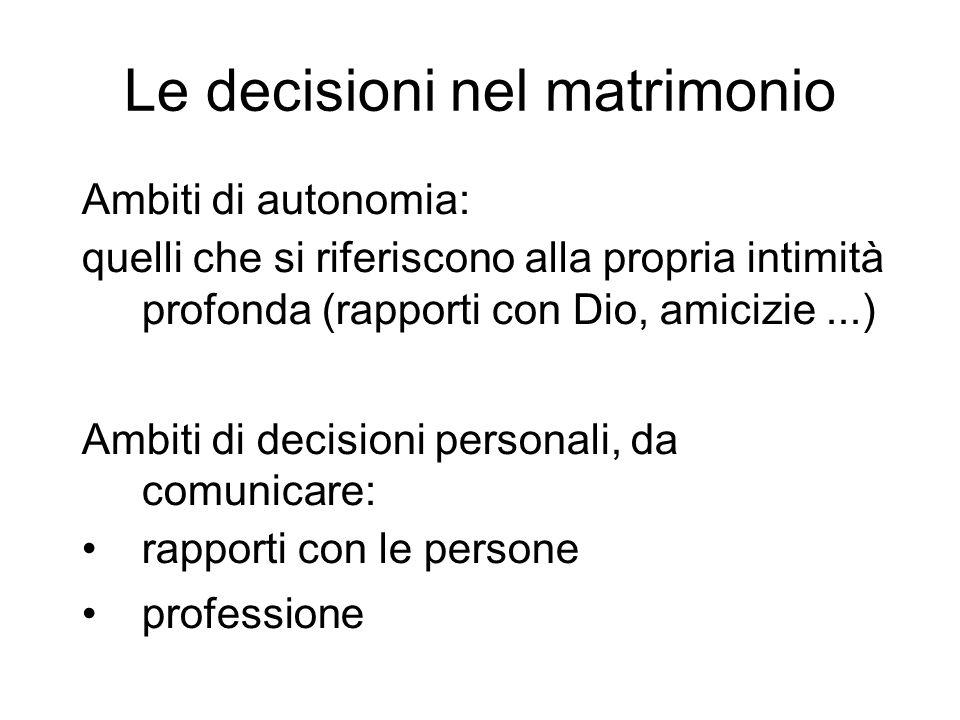 Le decisioni nel matrimonio Ambiti di autonomia: quelli che si riferiscono alla propria intimità profonda (rapporti con Dio, amicizie...) Ambiti di de