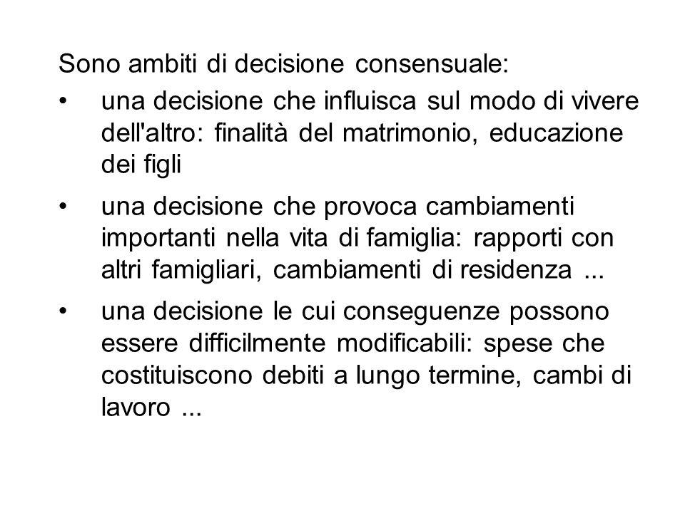 Sono ambiti di decisione consensuale: una decisione che influisca sul modo di vivere dell'altro: finalità del matrimonio, educazione dei figli una dec