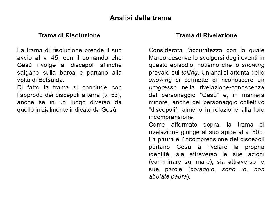 Analisi delle trame Trama di Risoluzione La trama di risoluzione prende il suo avvio al v.