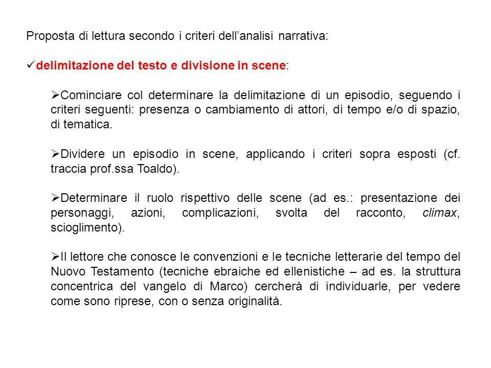 Proposta di lettura secondo i criteri dell'analisi narrativa: delimitazione del testo e divisione in scene:  Cominciare col determinare la delimitazi