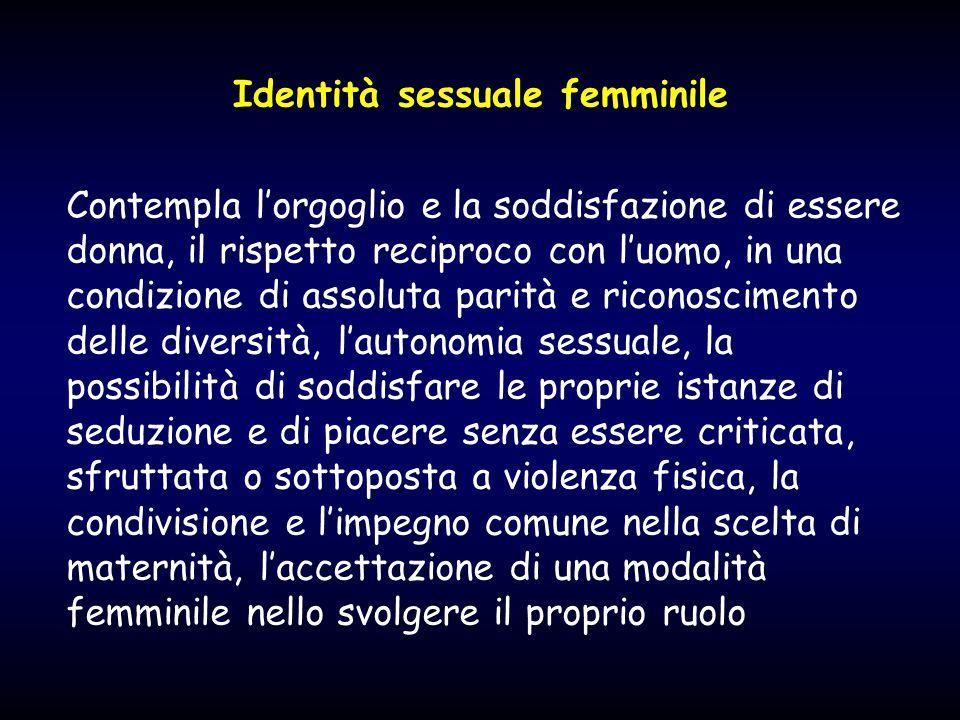 Identità sessuale femminile Contempla l'orgoglio e la soddisfazione di essere donna, il rispetto reciproco con l'uomo, in una condizione di assoluta p