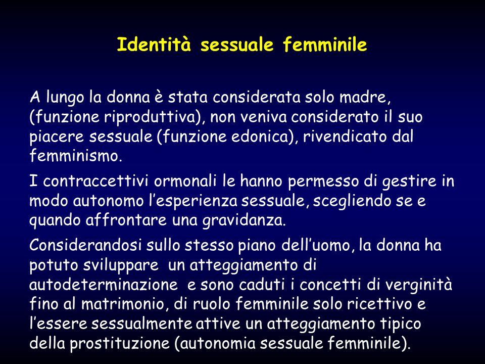 Identità sessuale femminile A lungo la donna è stata considerata solo madre, (funzione riproduttiva), non veniva considerato il suo piacere sessuale (