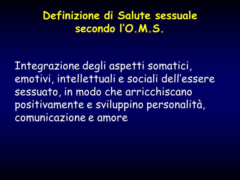 Definizione di Salute sessuale secondo l'O.M.S. Integrazione degli aspetti somatici, emotivi, intellettuali e sociali dell'essere sessuato, in modo ch