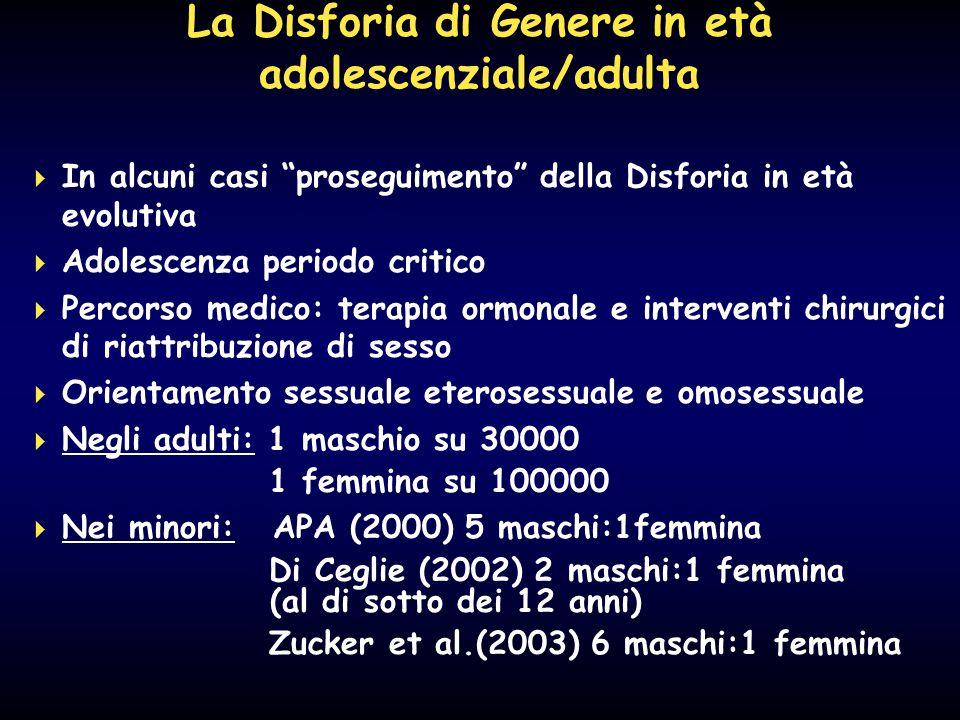 """La Disforia di Genere in età adolescenziale/adulta  In alcuni casi """"proseguimento"""" della Disforia in età evolutiva  Adolescenza periodo critico  Pe"""