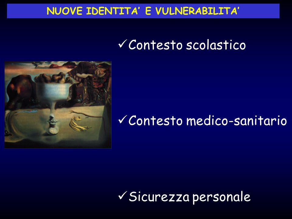 Contesto scolastico Contesto medico-sanitario Sicurezza personale NUOVE IDENTITA' E VULNERABILITA'