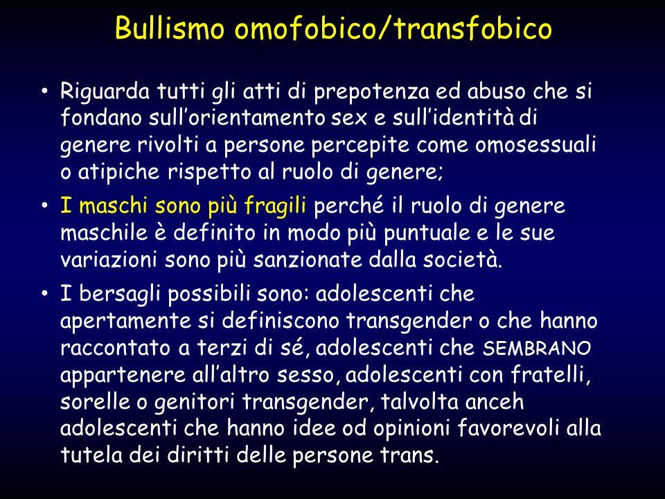 Bullismo omofobico/transfobico Riguarda tutti gli atti di prepotenza ed abuso che si fondano sull'orientamento sex e sull'identità di genere rivolti a
