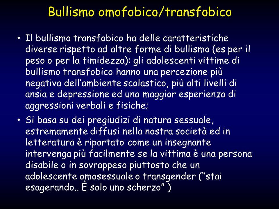 Bullismo omofobico/transfobico Il bullismo transfobico ha delle caratteristiche diverse rispetto ad altre forme di bullismo (es per il peso o per la t