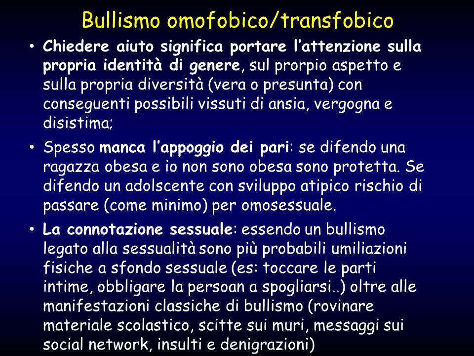 Bullismo omofobico/transfobico Chiedere aiuto significa portare l'attenzione sulla propria identità di genere, sul prorpio aspetto e sulla propria div