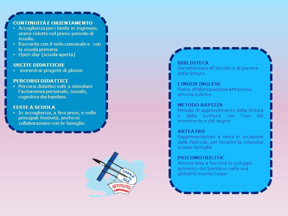 Scuola infanzia TEMPI ATTIVITA' SVOLTE SPAZI 8.00-9.00 Accoglienza organizzata Salone, sezione 9.00-10.00 Merenda, attività di routine Sezione, bagno 10.00-12.00 Attività di sezione o di piccolo gruppo Sezione, altri spazi della scuola 12.00-12.15 Preparazione per il pranzo, consegna bavaglino Sezione, bagno 12.15-13.00PranzoSala mensa 13.00-13.30 Intersezione non strutturata Spazi comuni, salone, giardino 13.30-15.00 Attività per angoli con opzione di interesse Sezione 15.00-15.45 Attività di routine, merenda Sezione, bagno 15.45-16.00 Attività di commiato Sezione TEMPI ATTIVITA' SVOLTE SPAZI 8.00-9.00 Accoglienza organizzata Salone, sezione 9.00-10.00 Merenda, attività di routine Sezione, bagno 10.00-12.00 Attività di sezione o di piccolo gruppo Sezione, altri spazi della scuola 12.00-12.15 Preparazione per il pranzo, consegna bavaglino Sezione, bagno 11.45 – 12.30Pranzo 1° turnoSala mensa 12.15-13.15Pranzo 2° turnoSala mensa 13.15-13.45 Intersezione non strutturata Spazi comuni, salone, giardino 13.45-15.00 Attività per angoli con opzione di interesse Sezione 15.00-15.45 Attività di routine, merenda Sezione, bagno 15.45-16.00 Attività di commiato Sezione H.C.