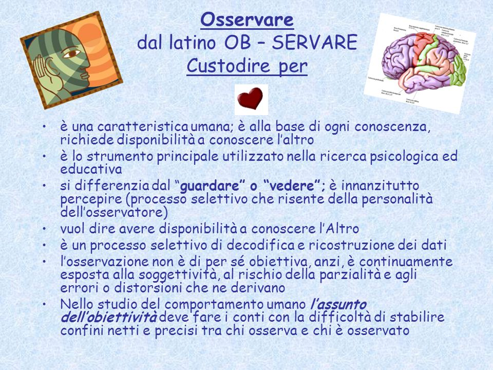 Osservare dal latino OB – SERVARE Custodire per è una caratteristica umana; è alla base di ogni conoscenza, richiede disponibilità a conoscere l'altro