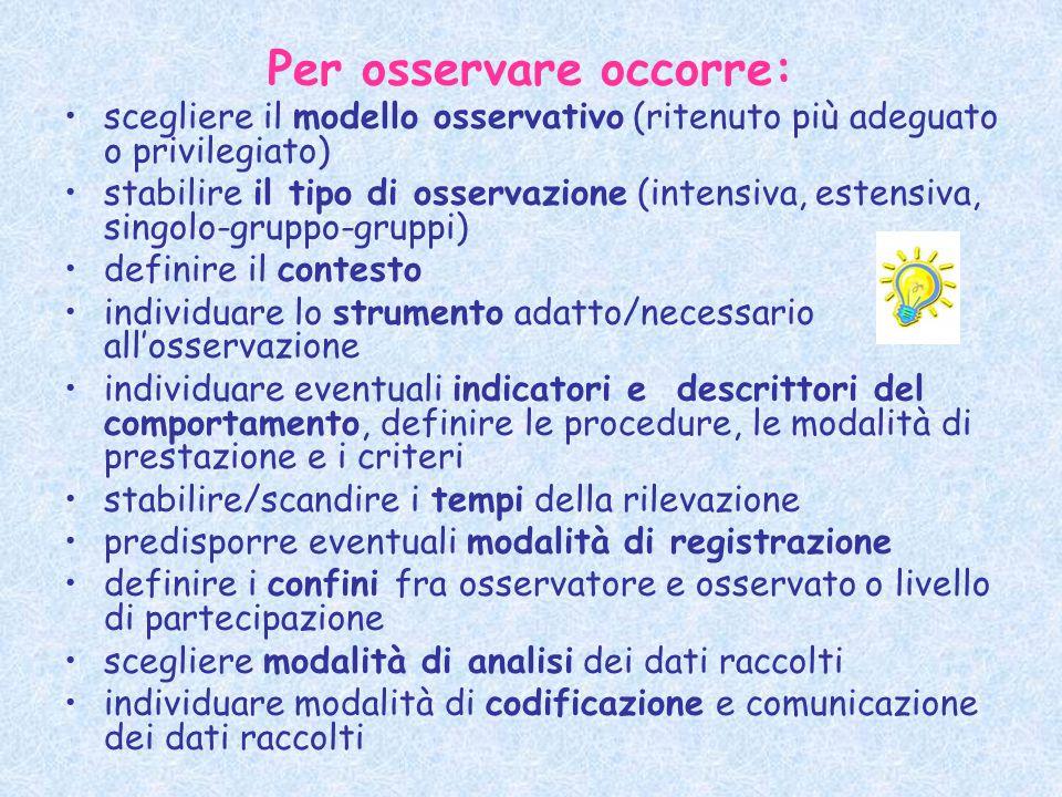 Per osservare occorre: scegliere il modello osservativo (ritenuto più adeguato o privilegiato) stabilire il tipo di osservazione (intensiva, estensiva