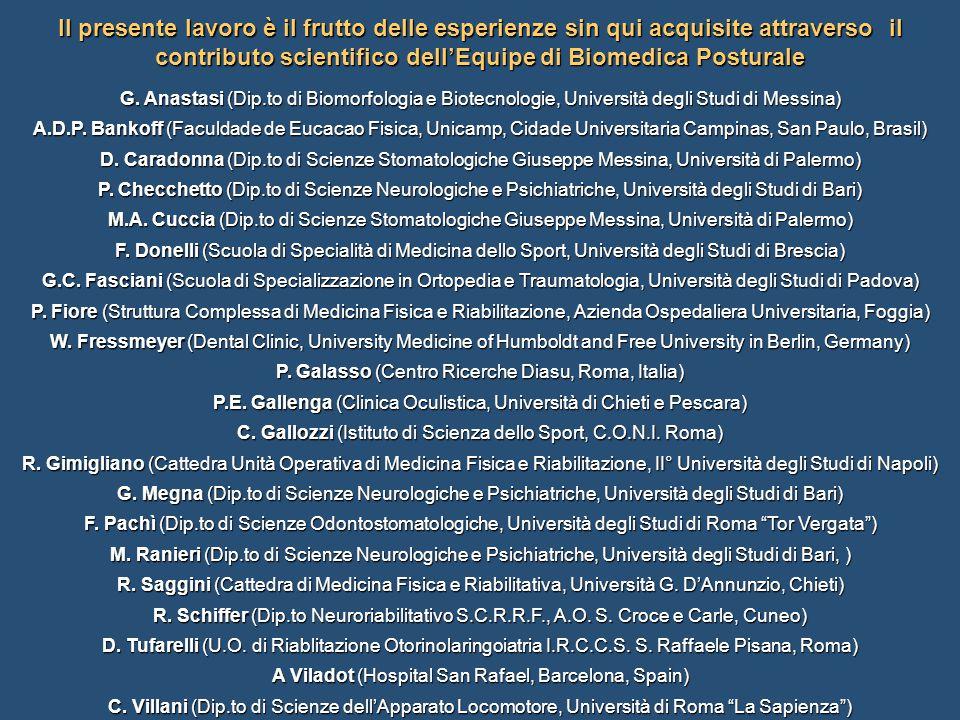 Il presente lavoro è il frutto delle esperienze sin qui acquisite attraverso il contributo scientifico dell'Equipe di Biomedica Posturale G. Anastasi