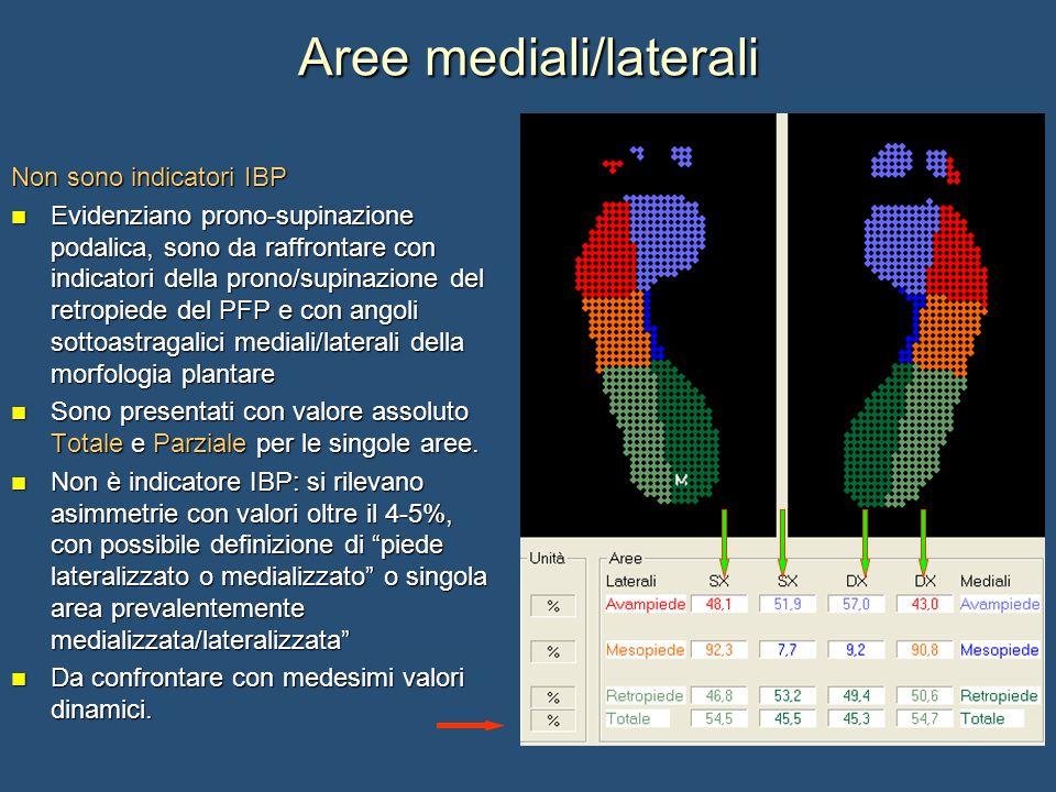 Aree mediali/laterali Non sono indicatori IBP Evidenziano prono-supinazione podalica, sono da raffrontare con indicatori della prono/supinazione del r