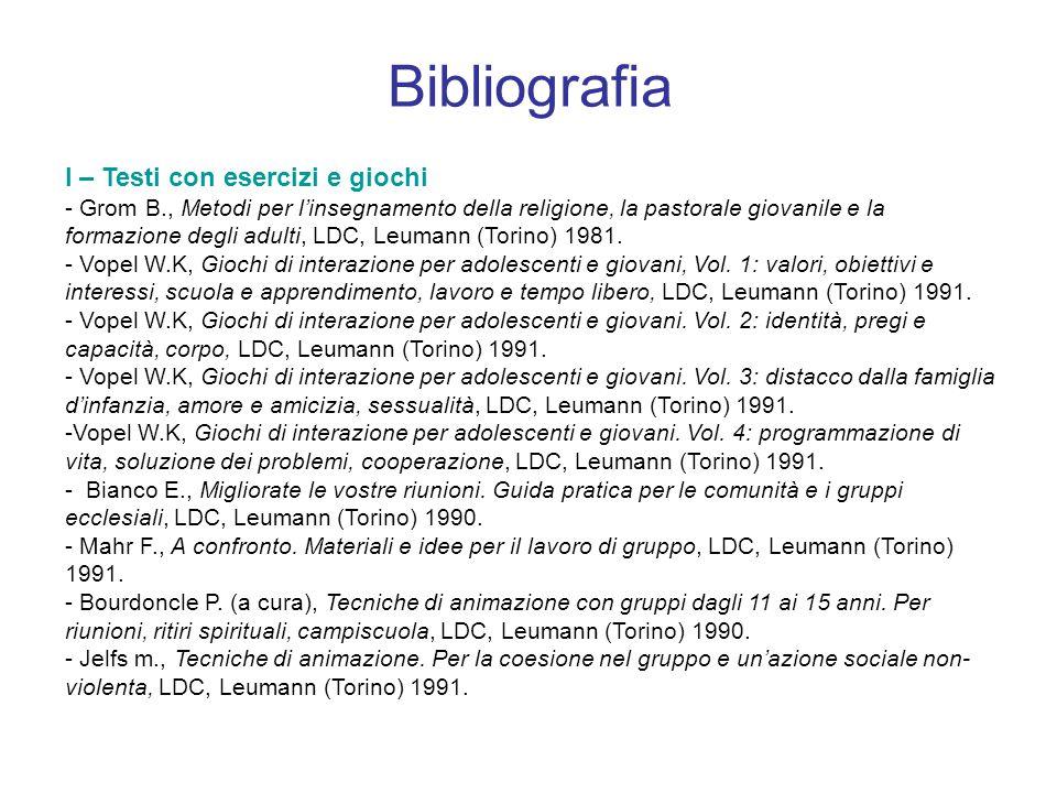 - ACR (a cura), Giochiamo a un gioco.200 idee per animare gruppi di ragazzi, AVE, Roma 1991.